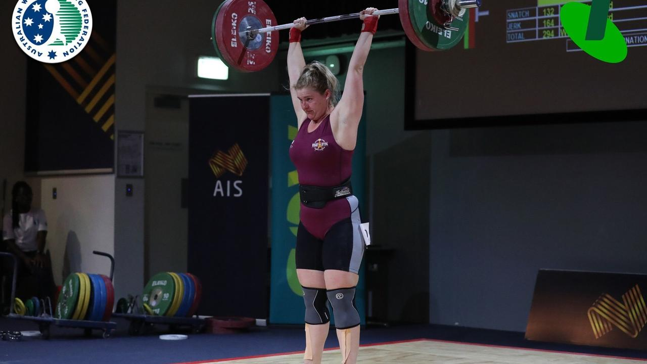 PURE STRENGTH: Chloe Kerwick competing at the Australian Weightlifting Federation National Senior Championships.