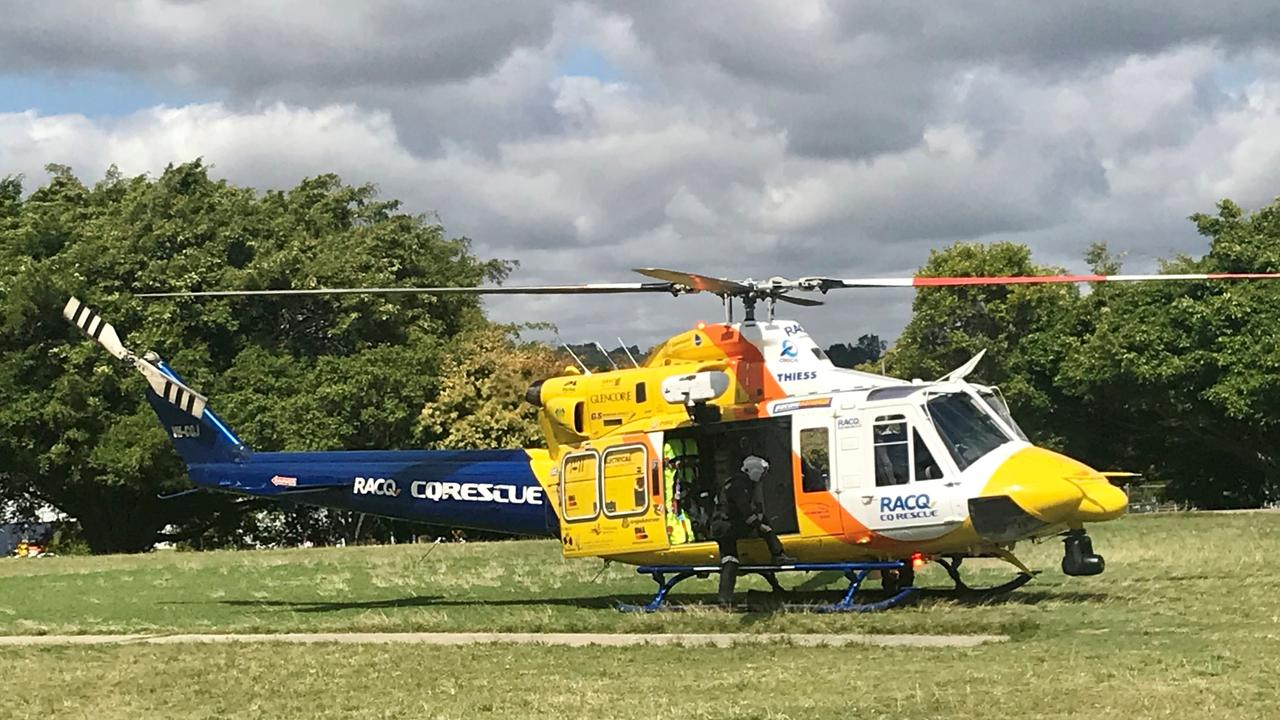 The RACQ CQ Rescue helicopter is on its way to a serious crash near Marlborough.
