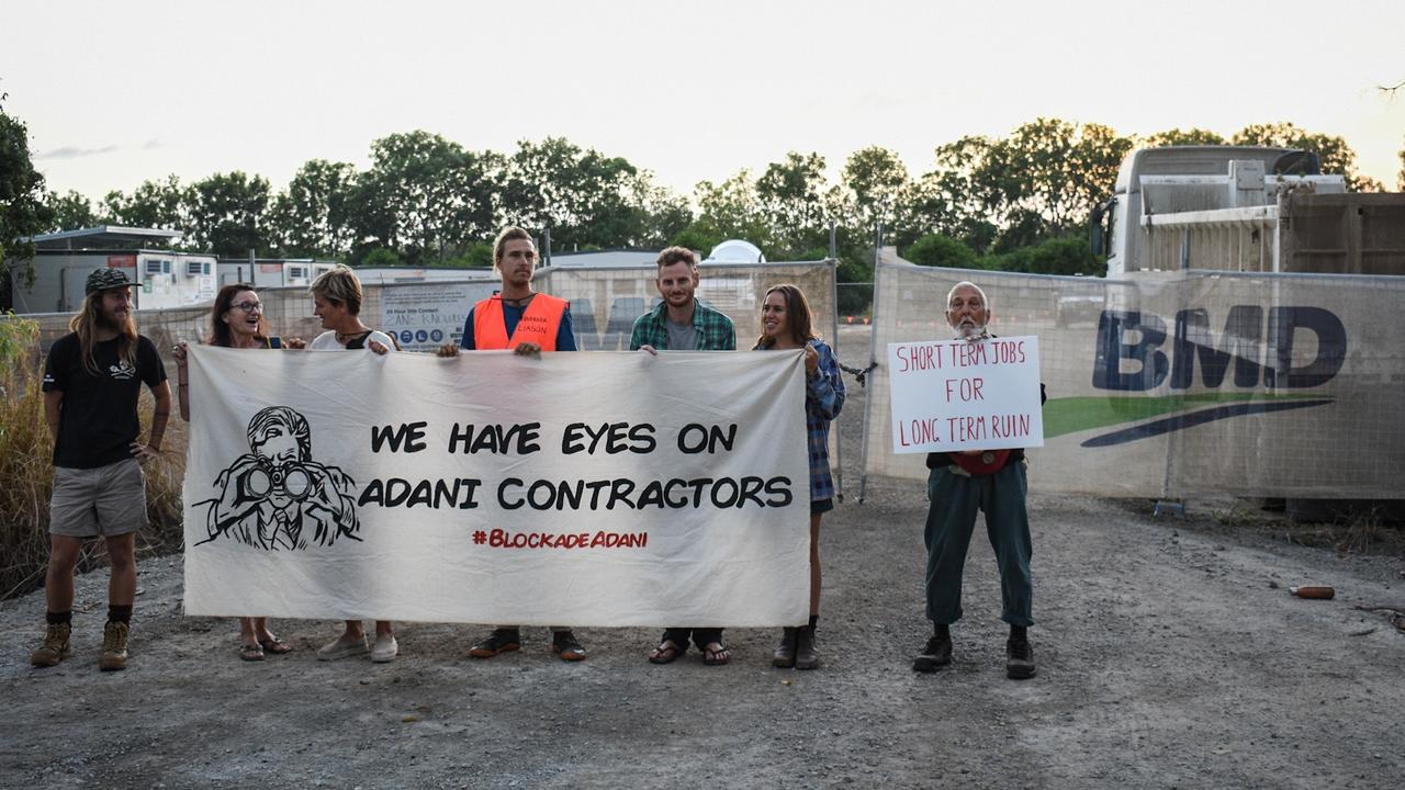 Protesters outside BMD's construction site near the Haughton River.