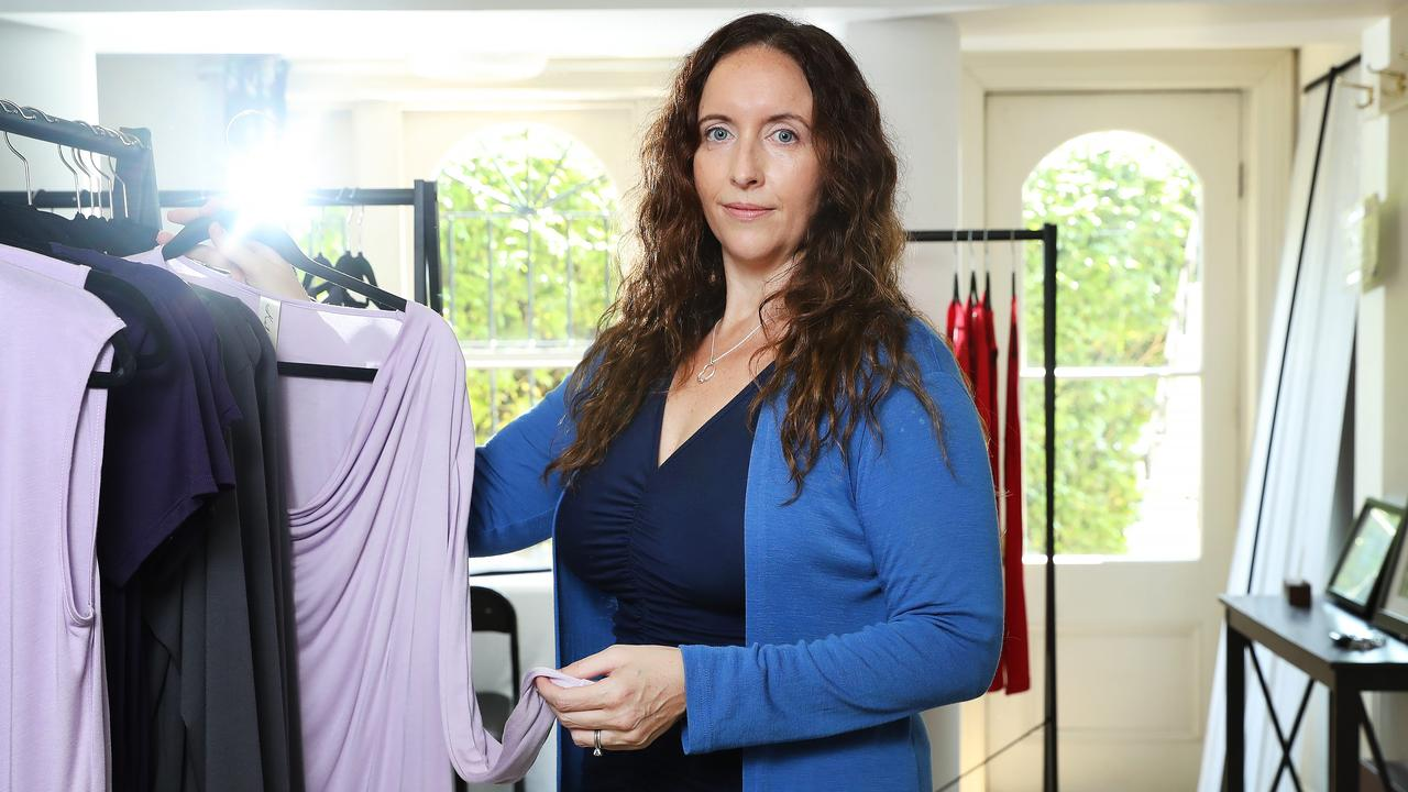 Designer Katie Perry, who is suing pop superstar Katy Perry, at her fashion studio in Paddington. Picture: Rohan Kelly