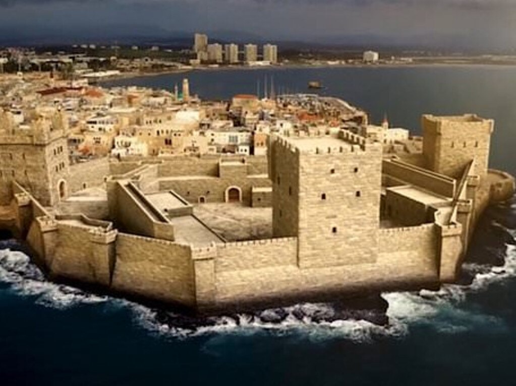 Promotional image by National Geographic showing a reconstruction of the Templar Tower and fortified monastery in the Crusader city of Acre. Picture: Supplied