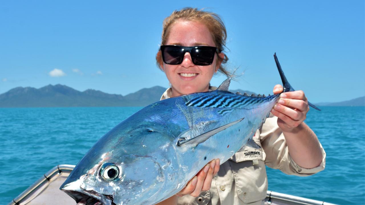 Tara Hilet with a nice Mac Tuna she caught casting chrome slugs.