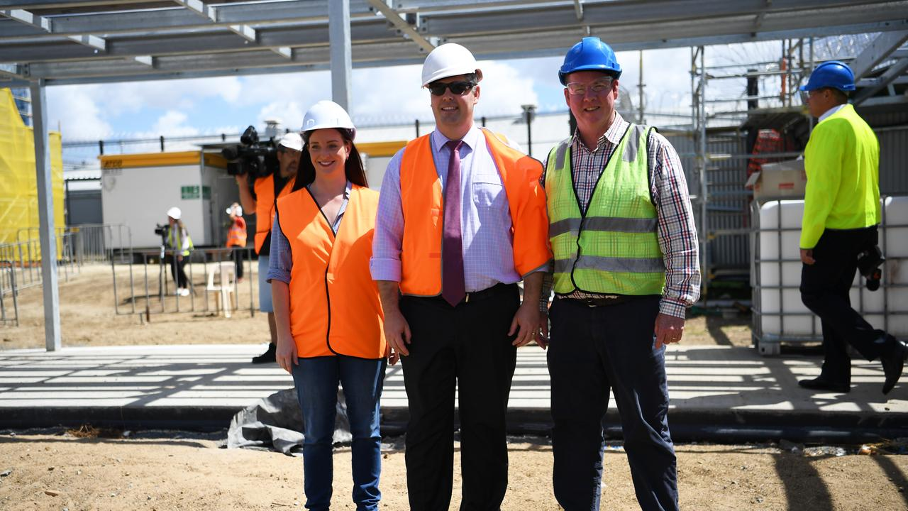 Minister for Corrections Mark Ryan , Member for Rockhampton Barry O'Rourke and member for Keppel Britany Lauga tour the Capricornia Correctional Centre the expansion works.