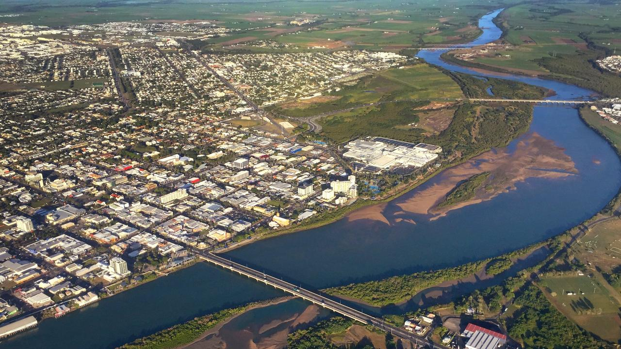 An aerial image of Mackay city and the Pioneer River.