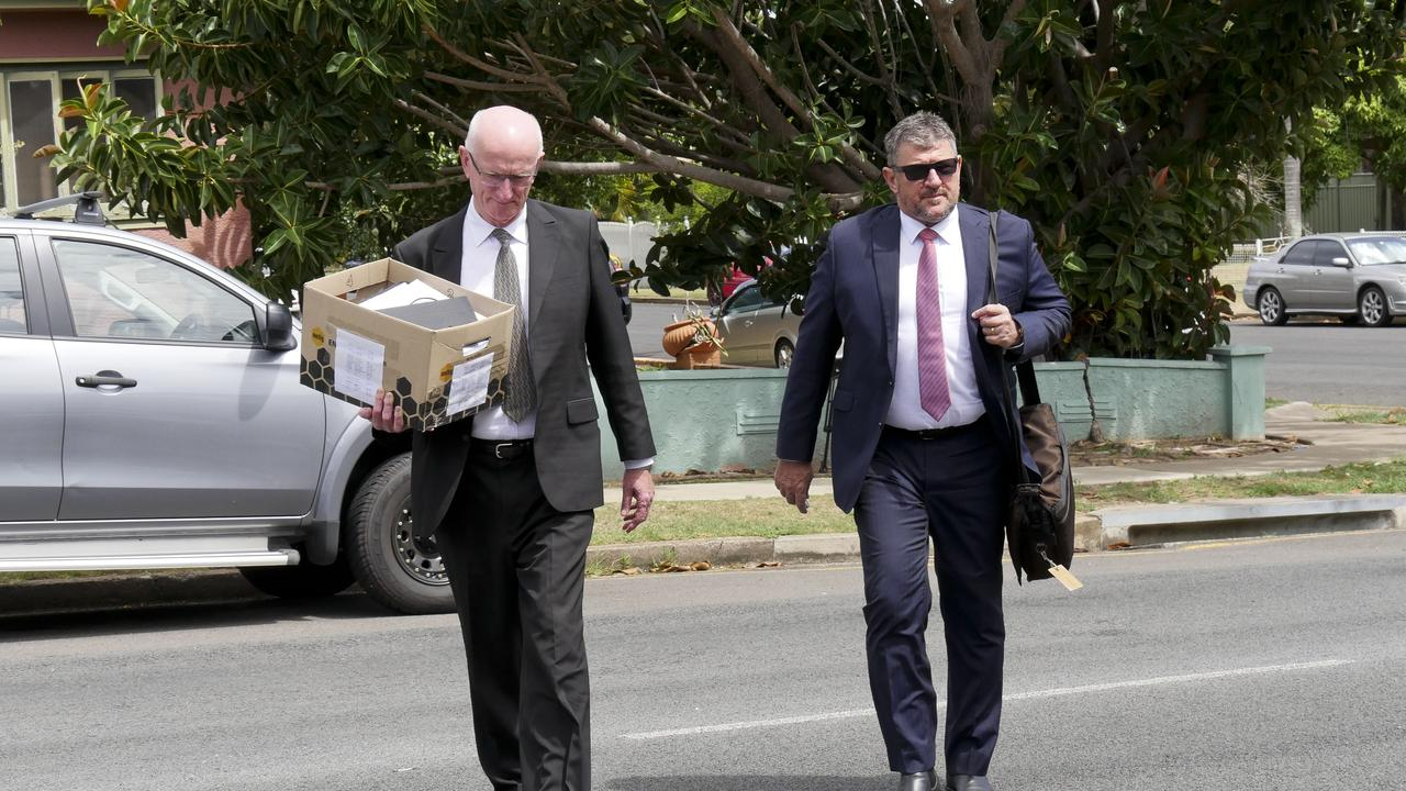 Chris Loft arriving with his lawyer Angelo Venardos at day three of the ex-mayor's trial at Hervey Bay District Court.