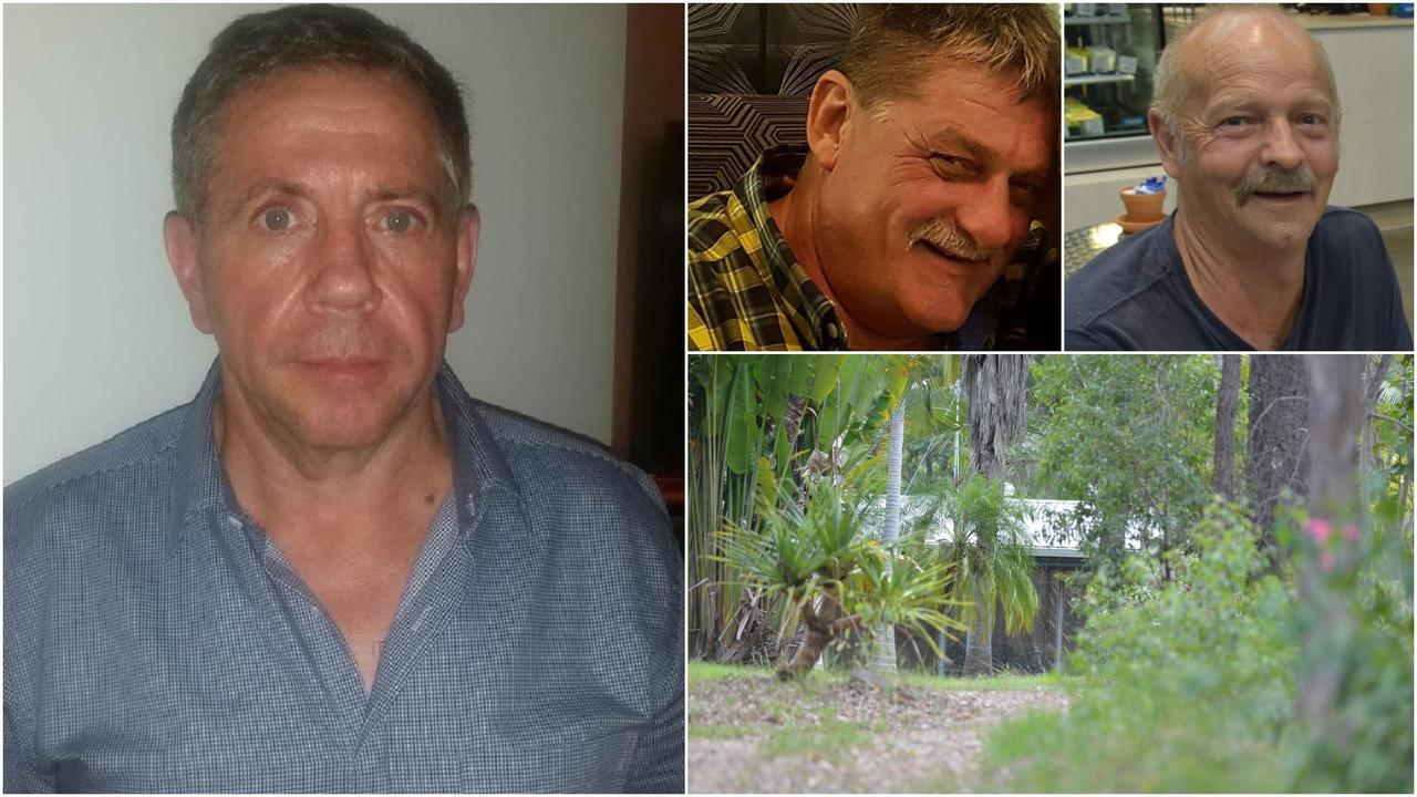 Nambour man Bruce Saunders (left) died at a Goomboorian property in November 2017. Gregory Roser (top left) and Peter Koenig (top right) have faced court this week charged with Mr Saunders' alleged murder. Photos: Contributed