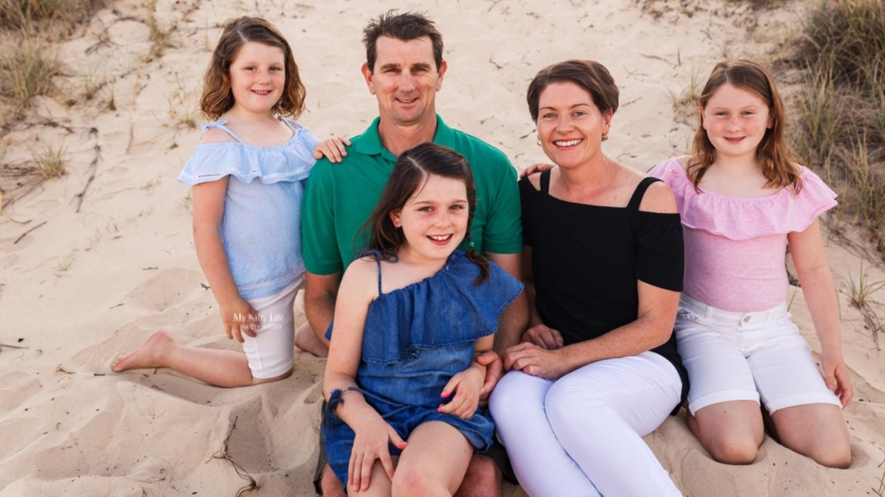 Pictured is Tasmin Summers, her husband Lee and their three daughters, Bronte, 11, Paige, 10, and Allegra, 8. Photo: Aamie Cush