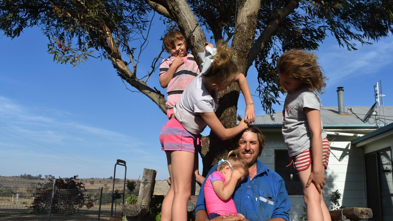 HAIRY FARMER: Brenen Ballon's daughters Josephine, Brooke, Lucy and Emily love his new look, which all started with his desire to help mental health awareness for farmers.