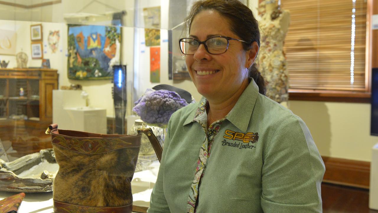 HIDING TO WIN: Megan Spencer-Paul won the Jeff Spann Award for her bag Carved Gum Leaves at the Martin Hanson Memorial Art Awards.