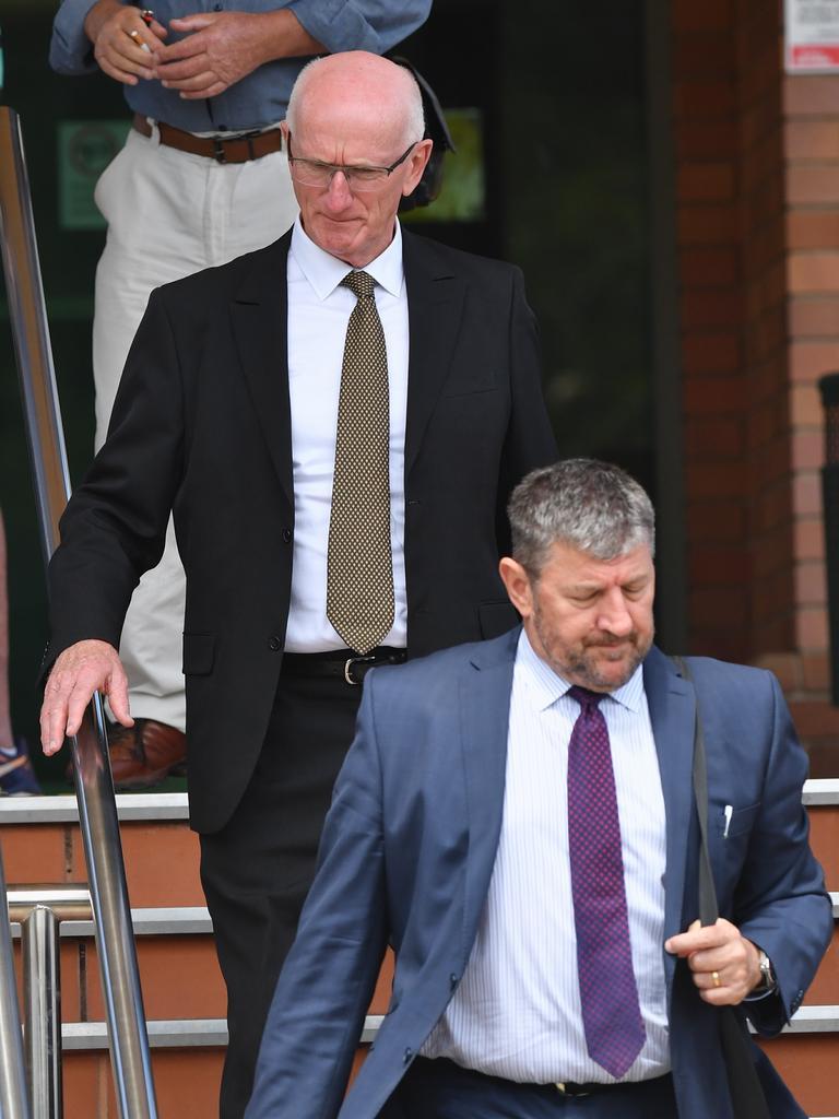 Court case for former mayor Chris Loft at Hervey Bay Court House – Chris Loft with lawyer Angelo Venardos.