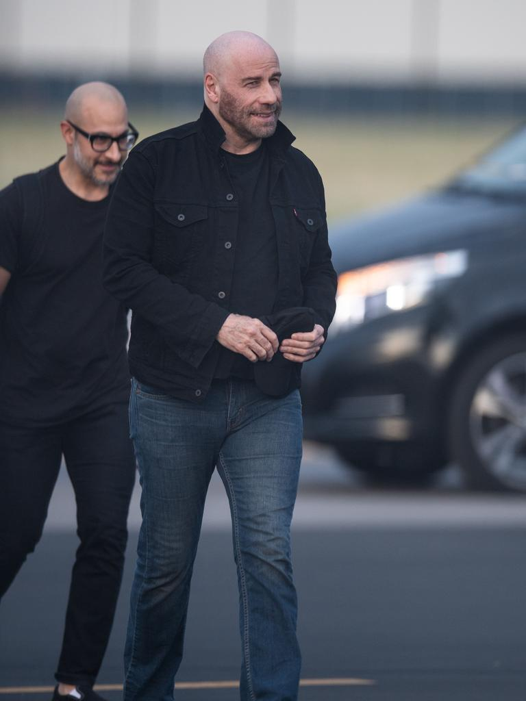 John Travolta arrives at Adelaide Airport on a private jet to appear at Supanova. Picture: Brad Fleet