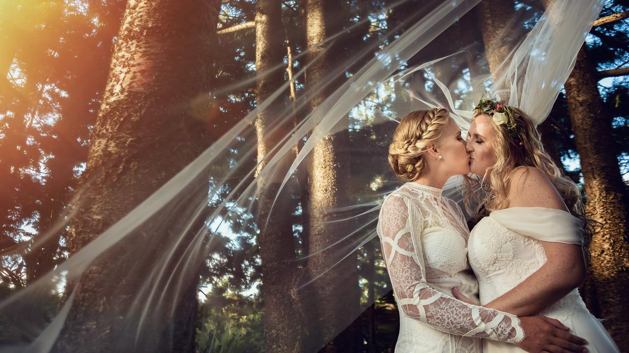 Marriage equality has boosted the Sunshine Coast hinterland wedding industry. Pictured are Kori and Courtney at Montville. Photo: Ben Connolly