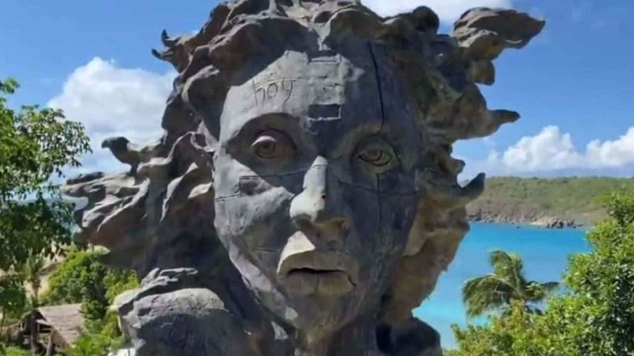 One of the many bizarre statues scattered across Little St James. Picture: wearechange.org