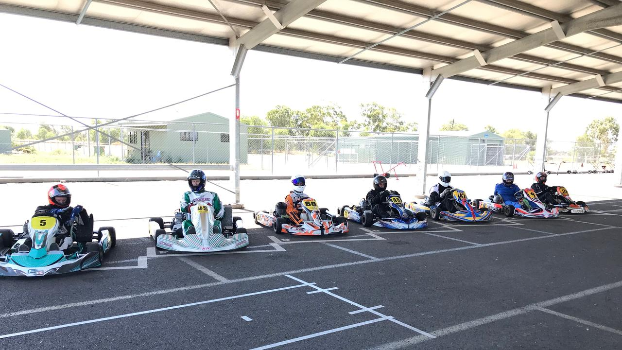 REVVING UP: The senior karting team ready to race.