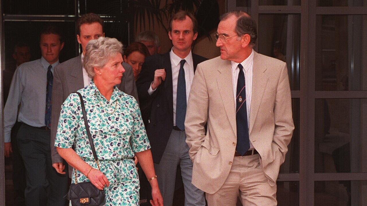 Caroline's parents Jacqueline and Ian Clarke leaving court in 1994.