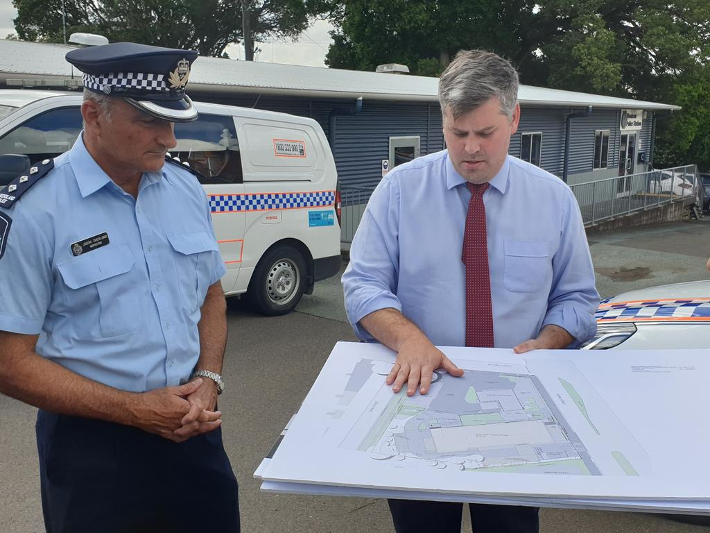 Inspector Jason Overland and Police Minister Mark Ryan viewing the plans for a $9 million police station for Nambour. Photo: Matty Holdsworth