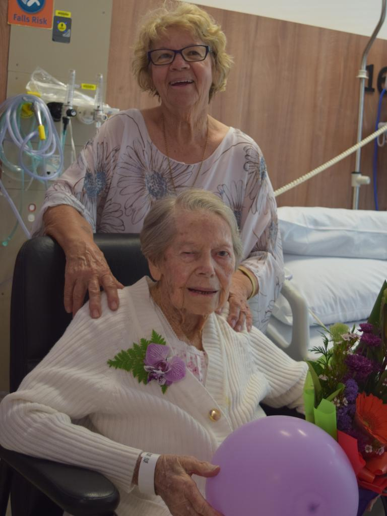 Margaret Dray and Jean Dray celebrate on Miss Dray's birthday on Friday.