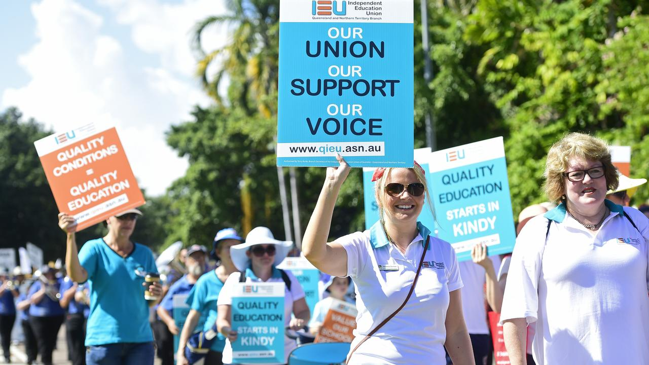 ACTION: Catholic School teachers across Queensland plan to take strike action from next week. (Pictured) Vanessa Dunbar marches with the IEU at a May Day march.
