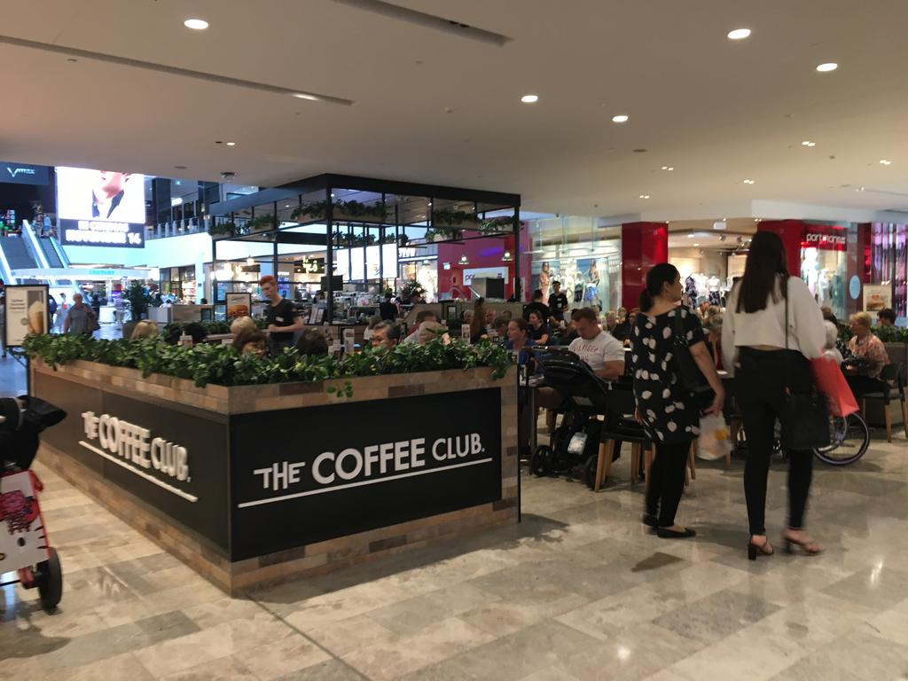 Coffee Club at Chermside, alongside major competitor, Gloria Jeans was the most expensive outlet to buy a large coffee. However, it was still ultra busy. Picture: The Courier-Mail
