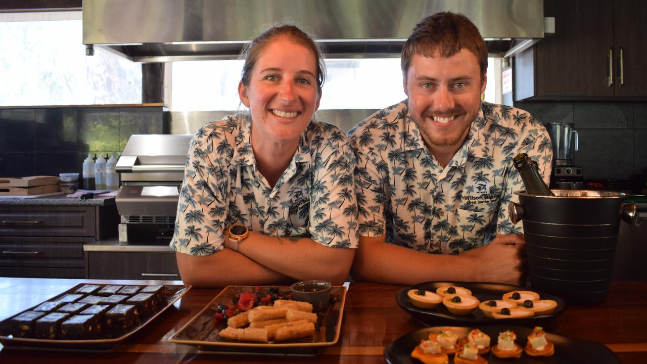 Wilson Island host Bec and chef Andrew Sheridan.