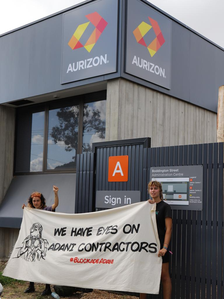Frontline Action on Coal launched protest action in Mackay last month. About 30 people blocked entrances to Aurizon.