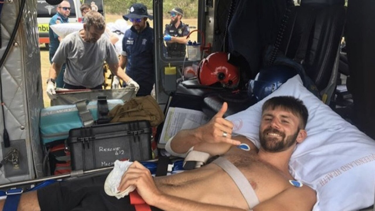 Danny Maggs was attacked by a shark at Hook Passage in the Whitsundays.