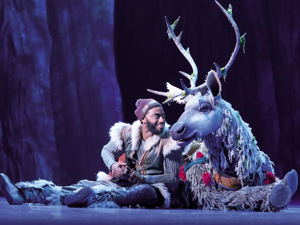 Jelani Aladdin (Kristoff) and Andrew Pirozzi (Sven) in Frozen. Picture: Deen Van Meer/Disney