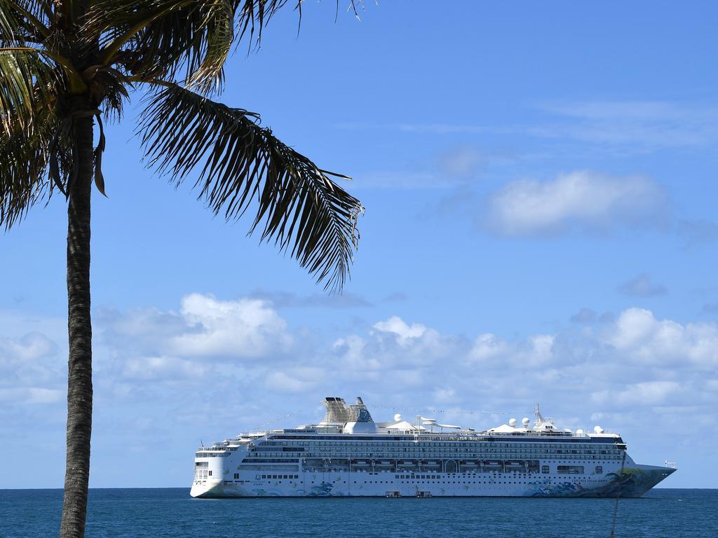 The Explorer Dream cruise ship anchored off Mooloolaba.