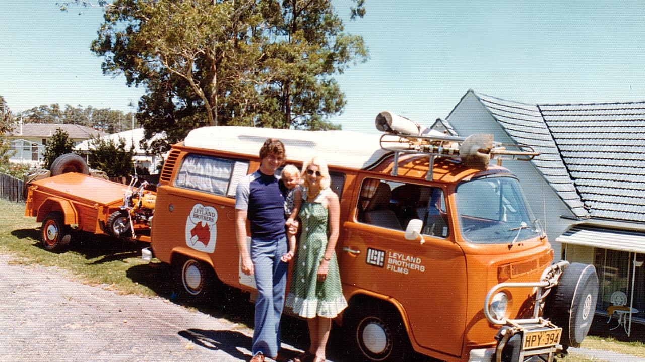 Mal and Laraine Leyland with baby Carmen in front of their iconic Kombi van.