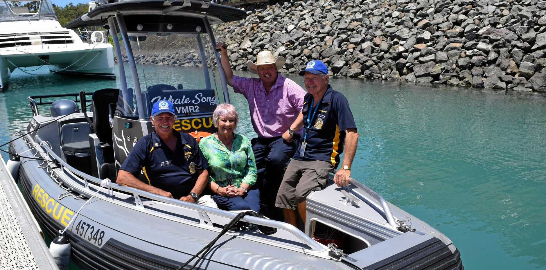 Checking out the new VMR Whitsunday second boat are VMR president Mal Priday, Whitsunday Regional Council's Cr Jan Clifford and Mayor Andrew Willcox with VMR Whitsunday secretary Roger Wodson.