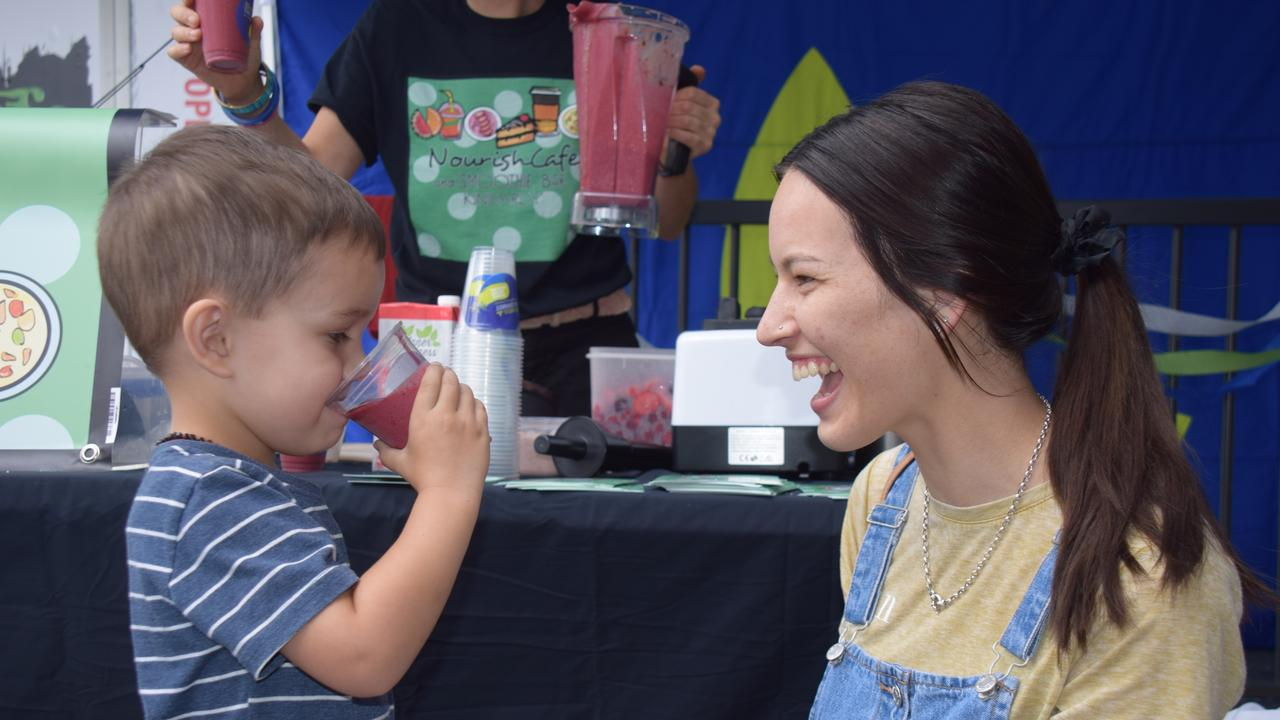 REFRESHING: Azariah Kotzur, 3 enjoys a smoothie with mum, Bethany at the IGA Family Fun Day.