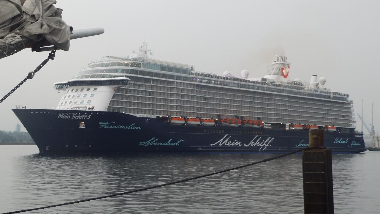 The Mein Schiff 5 leaving port in the German city of Kiel. Picture: HenSti