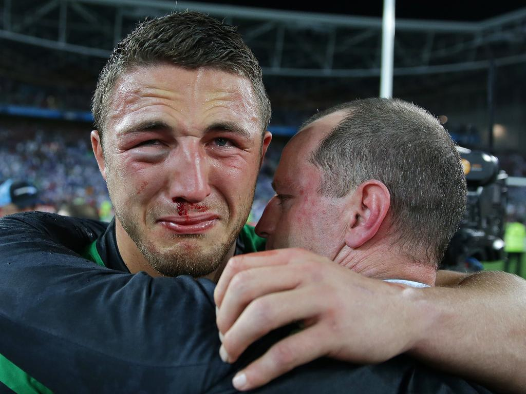 A bloody and bruised Burgess was overcome with emotion after winning the 2014 decider.