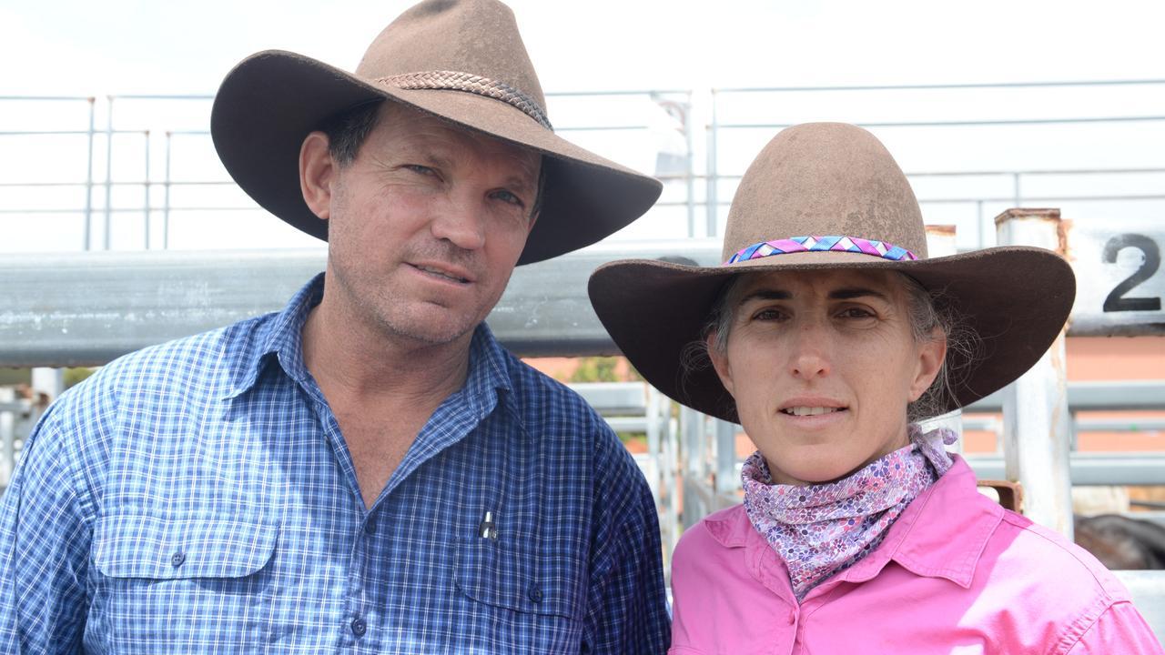 The Leap graziers Steve Robertson and Myra Robertson at the Landmark Mackay Sarina cattle sale. Photo: Zizi Averill