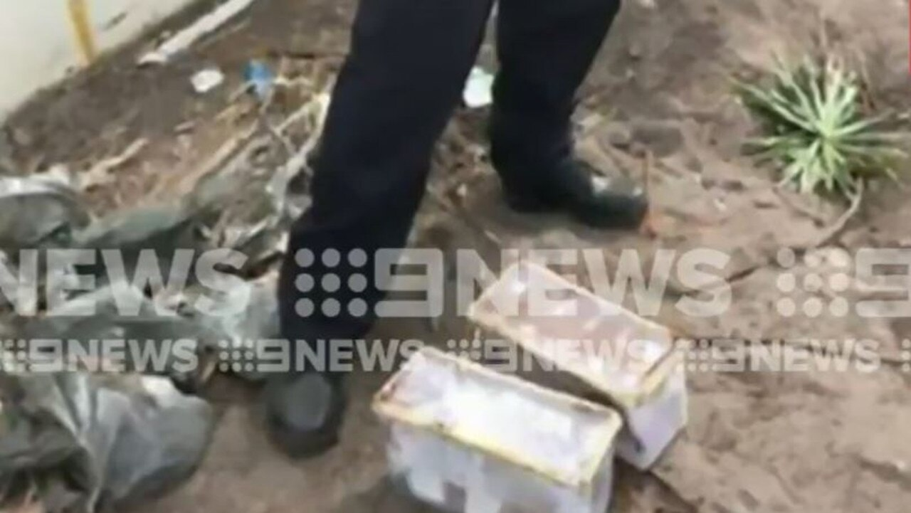 Tradies have discovered around $200,000 in buried cash in a Runaway Bay backyard. Photo: Nine News