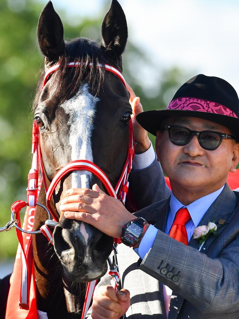 Trainer Yoshito Yahagi with Lys Gracieux after its Cox Plate win. Pic: AAP