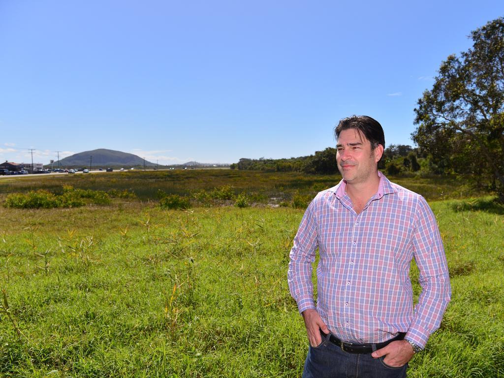 The 5.5 hectare development site near the airport at Marcoola. Falcon Projects director Damon Falcongreen. Photo: John McCutcheon / Sunshine Coast Daily