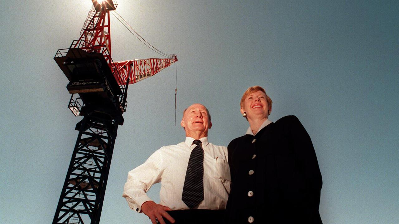 Sir John Pidgeon, who passed away in 2016, pictured in 1996 with daughter, Liz. who took over the reins of FA. Pidgeon & Son.