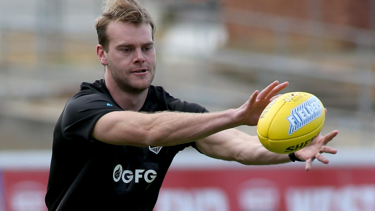 Jack Watts was back on the training track for the Power. Picture: AAP
