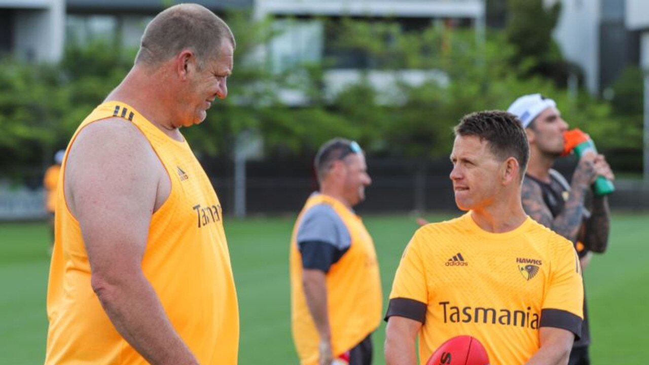 Brendon Bolton in familiar surroundings back at Hawthorn with Damian Monkhorst.