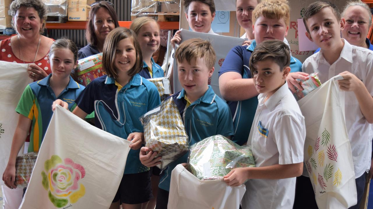 The Peregian College students with their decorated Santa sacks destined for the outback.
