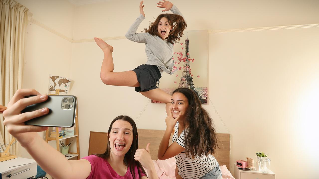 Teens Kyla, Charlotte and Layla. Picture: Alex Coppel.