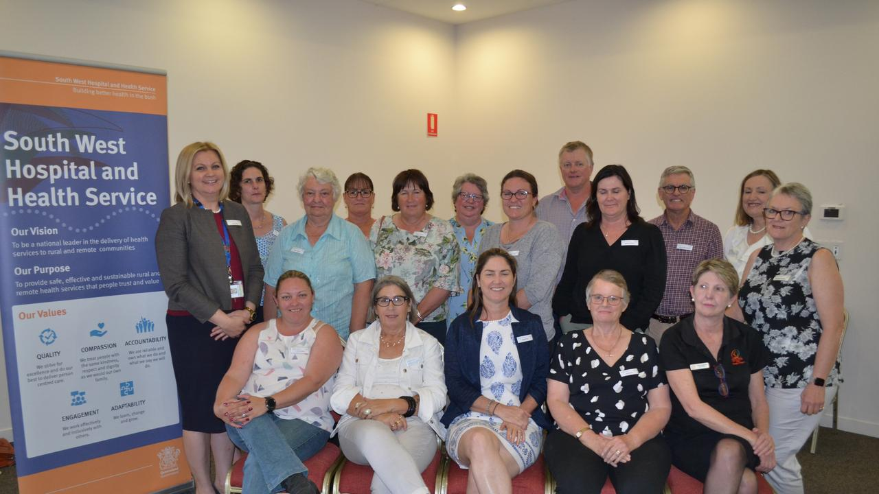 GOOD HEALTH: At the CAN forum in Roma: Back row - from left - South West HHS Chief Executive Linda Patat with Mareea Lochel, Mary Dunne, Donna Hooper, Sheryn Hanna, Wendy Newman, Mariane Horton, Guy Newell, Melissa Wathen, James Hetherington, Donna Burke and Heather Geary