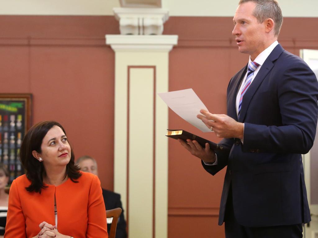Premier Annastacia Palaszczuk and Mick de Brenni. Pic: Jono Searle.