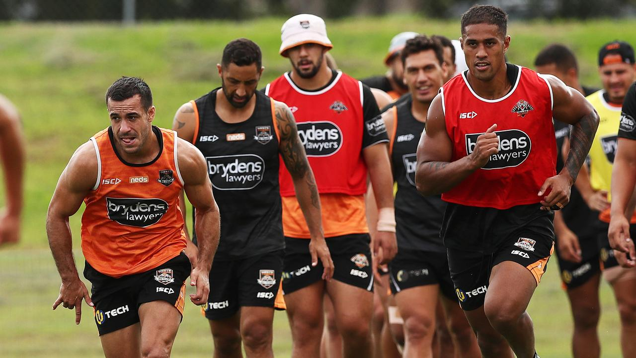 Wests Tigers trained all the way through to the grand final, despite missing the finals, meaning their preseason won't start until November 17. Picture. Phil Hillyard