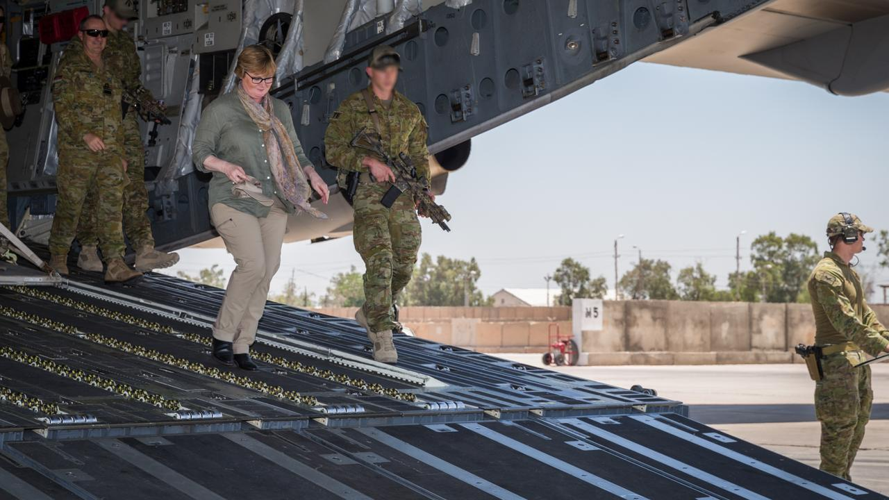 Minister for Defence Linda Reynolds and Vice Chief of Defence Force Vice Admiral David Johnston disembark an RAAF C-17A Globemaster during a visit to Australian and New Zealand personnel at the Taji Military Complex, Iraq. Picture: Supplied