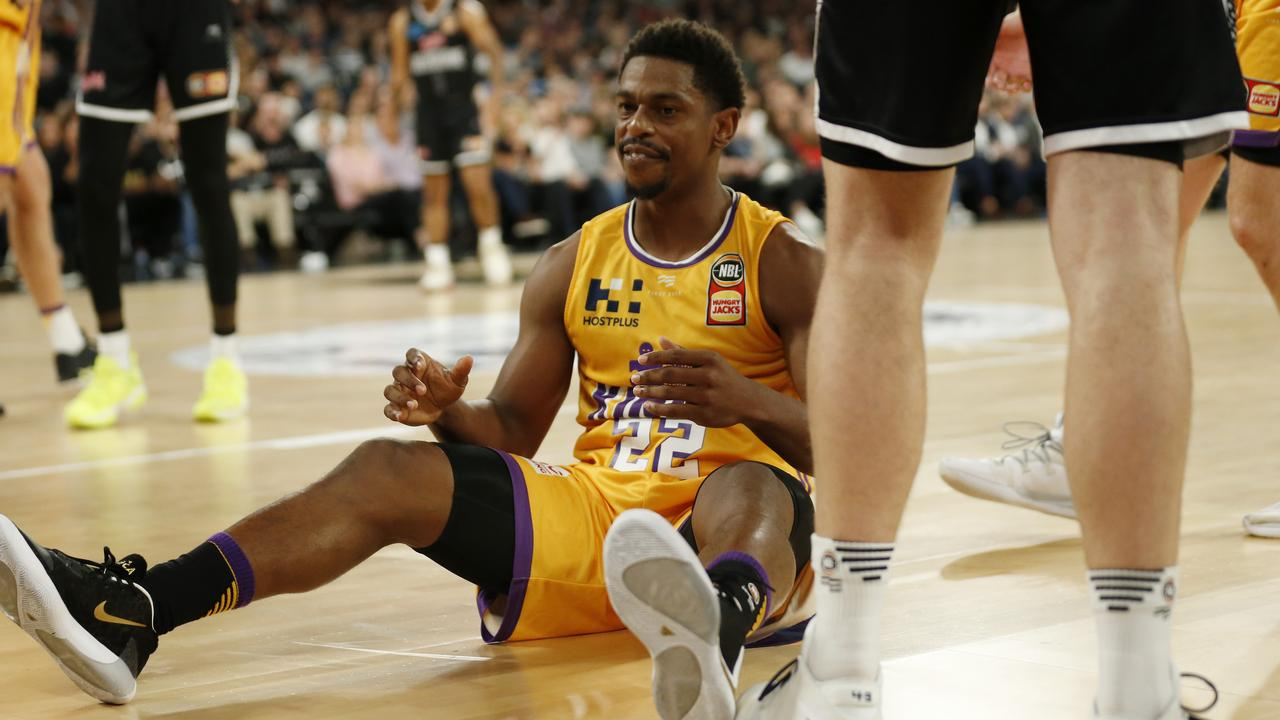 Casper Ware of the Kings reacts after being fouled during the round five NBL match between Melbourne United and the Sydney Kings at Melbourne Arena.