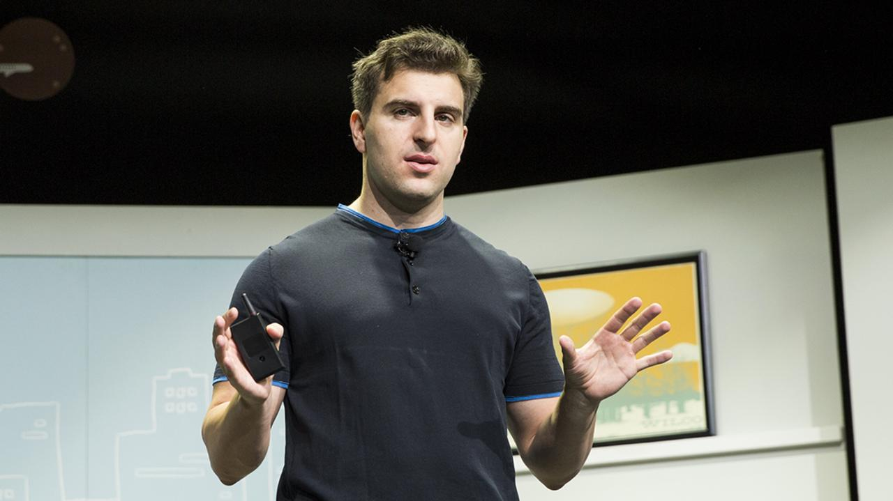 Airbnb co-founder and CEO Brian Chesky at the relaunch of Airbnb in 2016