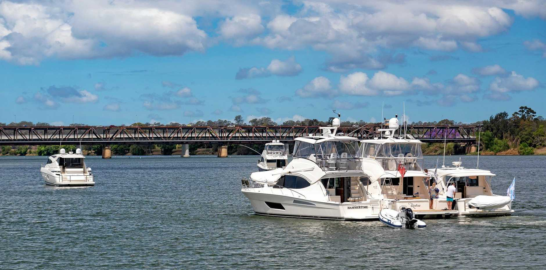 Riviera craft in the Clarence River this week for the Jacaranda Festival