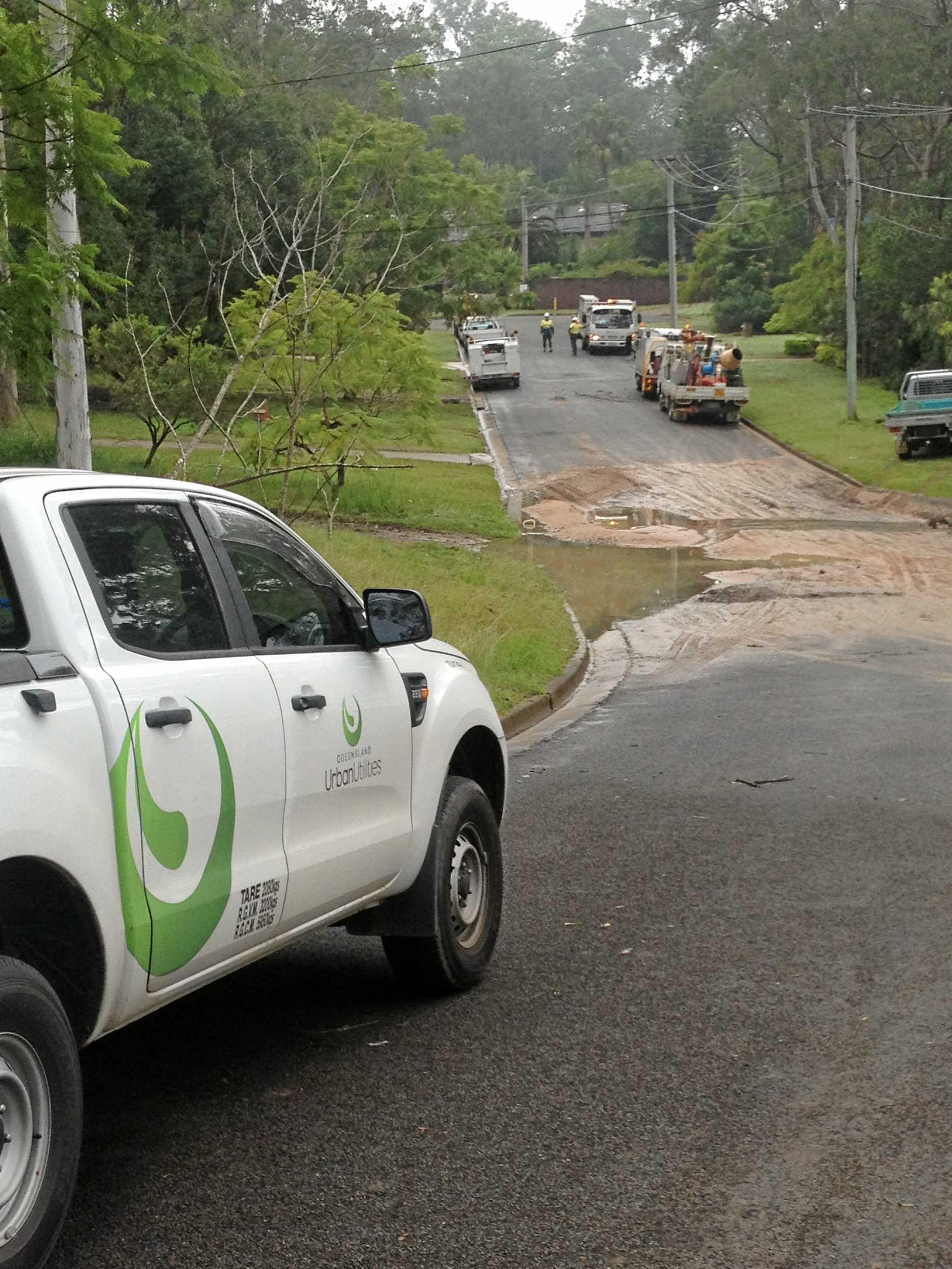 Queensland Urban Utilities crews at the scene of burst water main at Bellbird Park. Photo: Contributed